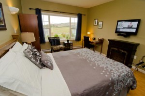 Come stay with us and book room #1 - it has a comfy Queen bed with flat screen tv and fireplace.