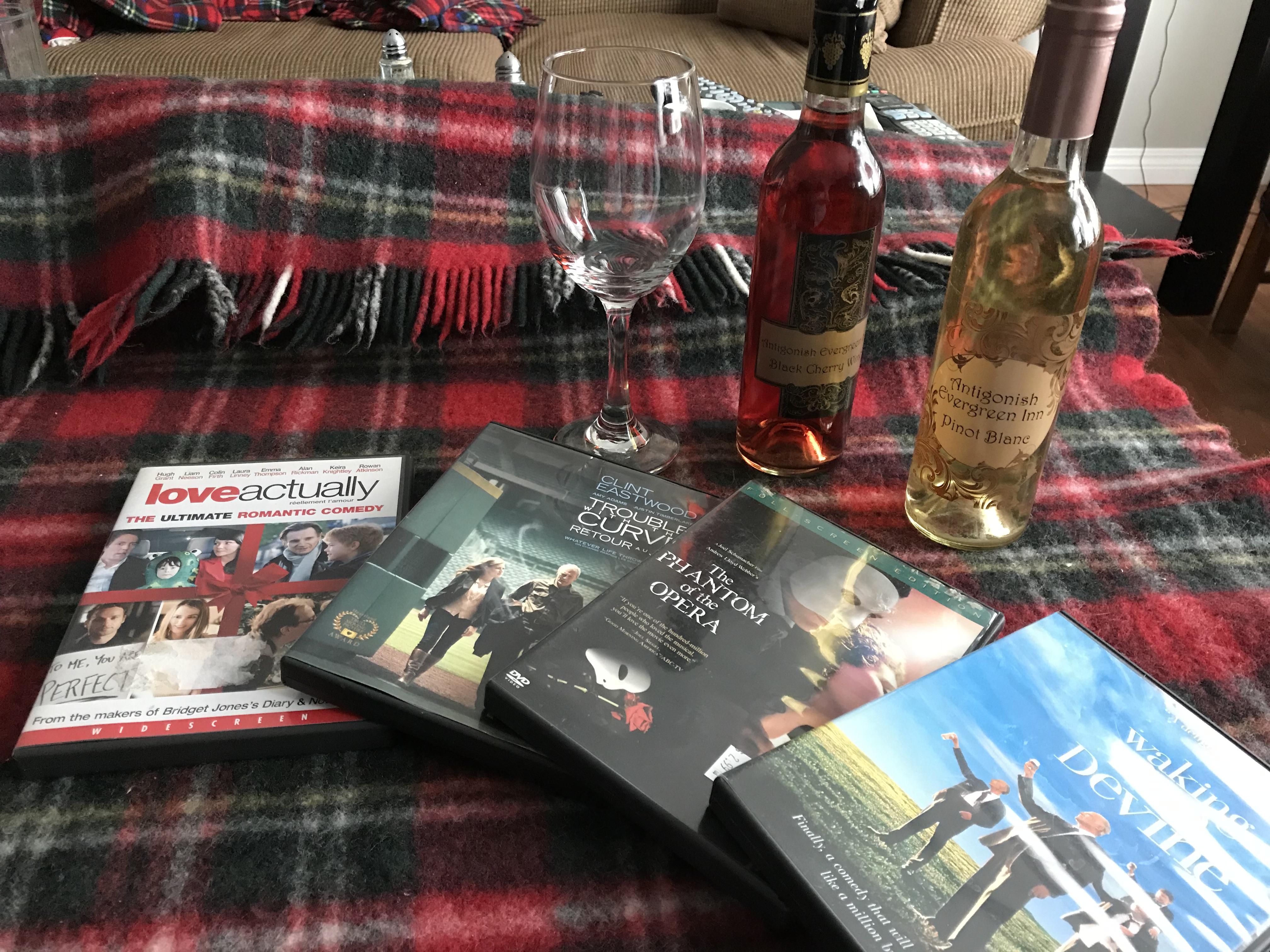 Antigonish Evergreen Inn - wine and a movie